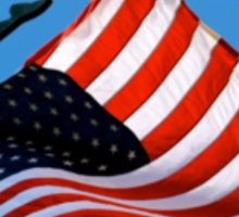 US Flag Proudly Waves on the Vineyard Sticker