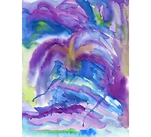 Abstract Watercolor Painting Blue Purple Green Yellow Photographic Print