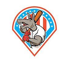 Donkey Baseball Player Batting Diamond Cartoon by patrimonio