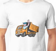 Dump Truck Driver Waving Cartoon Unisex T-Shirt