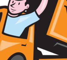 Dump Truck Driver Waving Cartoon Sticker