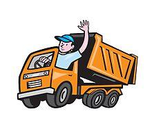 Dump Truck Driver Waving Cartoon by patrimonio