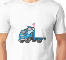 Flatbed Truck Driver Waving Cartoon Unisex T-Shirt