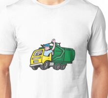 Garbage Truck Driver Waving Cartoon Unisex T-Shirt
