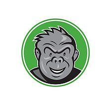 Angry Gorilla Head Circle Cartoon by patrimonio