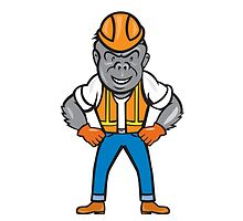 Angry Gorilla Construction Worker Cartoon by patrimonio