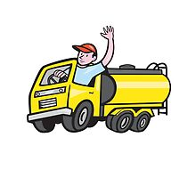 Tanker Truck Driver Waving Cartoon  by patrimonio