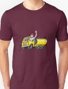 Tanker Truck Driver Waving Cartoon  T-Shirt