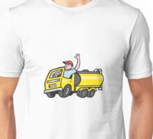 Tanker Truck Driver Waving Cartoon  Unisex T-Shirt