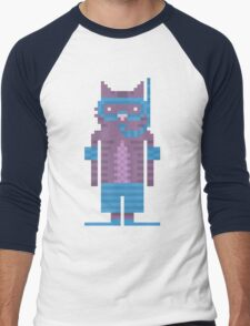 Snorkel Swimmer Cat Pixel Art Men's Baseball ¾ T-Shirt