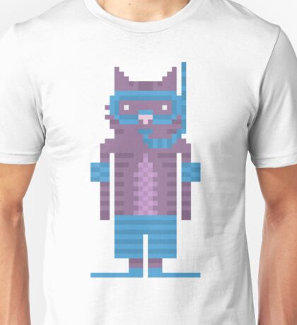 Snorkel Swimmer Cat Pixel Art Unisex T-Shirt