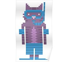 Snorkel Swimmer Cat Pixel Art Poster
