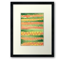 Hand-Painted Watercolor Stripes Green Orange Framed Print