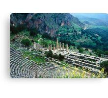 Temple of Apollo and Theatre, Delphi 1960 Canvas Print