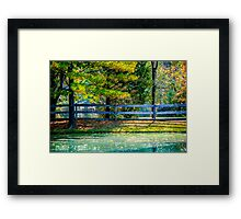 Autumn Scene With Pond and Fence Framed Print