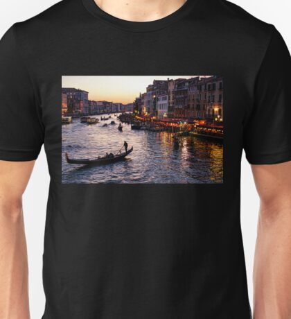 Venetian Impressions - Grand Canal Busy Traffic in Purple and Gold Unisex T-Shirt