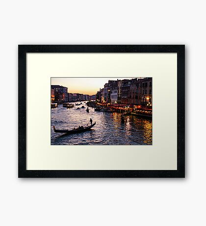 Venetian Impressions - Grand Canal Busy Traffic in Purple and Gold Framed Print