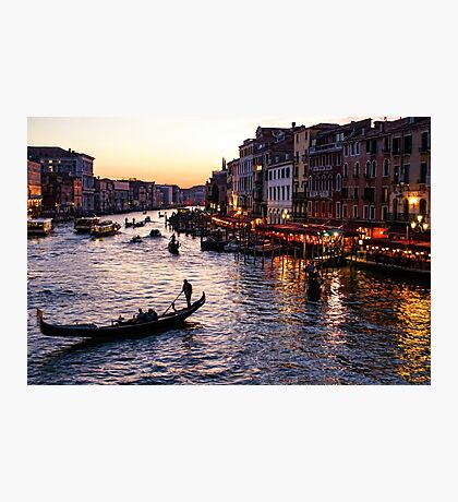 Venetian Impressions - Grand Canal Busy Traffic in Purple and Gold Photographic Print