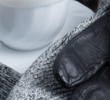 Grey wool scarf and leather gloves Sticker