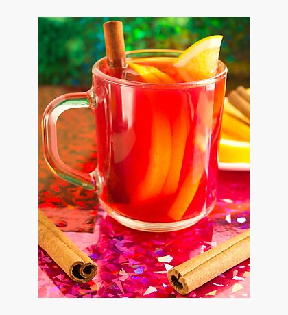 Glass mug with citrus mulled wine Photographic Print