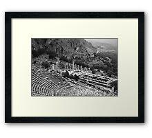 Temple of Apollo and Theatre, Delphi 1960, B&W Framed Print