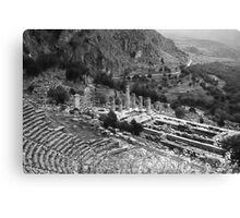 Temple of Apollo and Theatre, Delphi 1960, B&W Canvas Print
