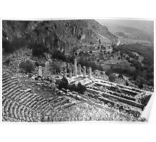 Temple of Apollo and Theatre, Delphi 1960, B&W Poster