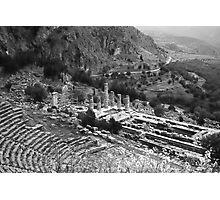 Temple of Apollo and Theatre, Delphi 1960, B&W Photographic Print