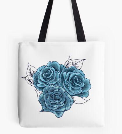 Vintage Blue Roses Tote Bag