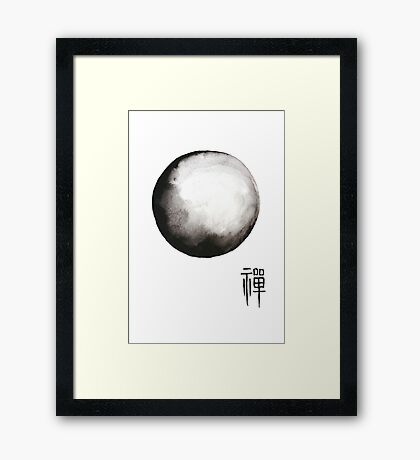 "Zen painting and Chinese Calligraphy of ""Zen""  Framed Print"