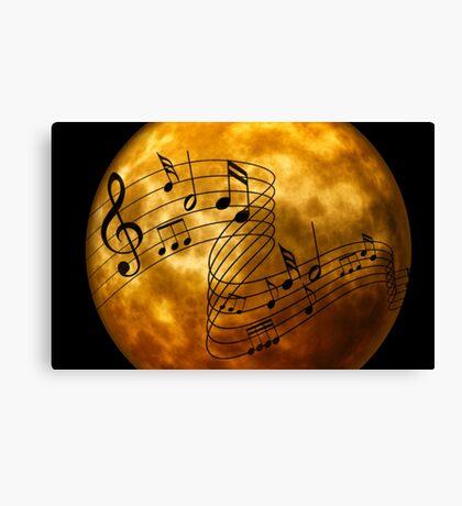 music notes moon Canvas Print