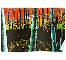 Orange Sky Through the Trees Poster