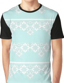 White lace on mint background Graphic T-Shirt