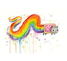 Nyan Cat Watercolor Photographic Print