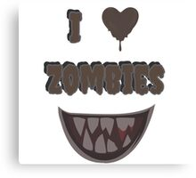 I Heart Zombies (white) Canvas Print