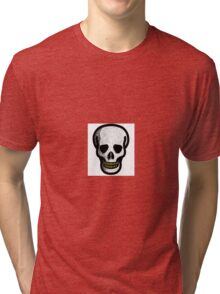 Pixelated skull decal with gold grill Tri-blend T-Shirt