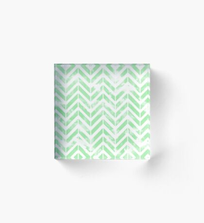 Shabby Green Chevron Acrylic Block