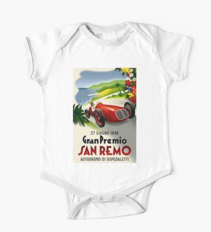 SAN REMO; Vintage Grand Prix Auto Racing Print One Piece - Short Sleeve