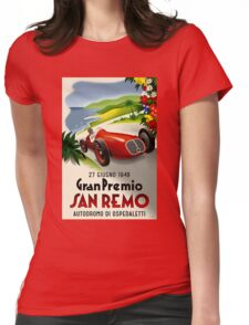 SAN REMO; Vintage Grand Prix Auto Racing Print Womens Fitted T-Shirt