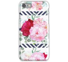 Striped navy and light blue floral seamless vector print with peony, alstroemeria lily, mint eucalyptus. Pink, white and burgundy flowers. iPhone Case/Skin