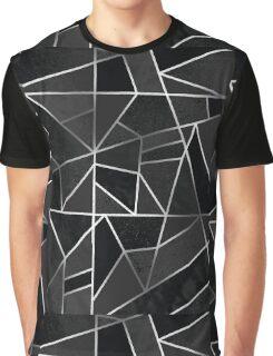 Silver & Black Geometric  Graphic T-Shirt