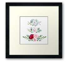 Stylish mix of horizontal flower bouquets vector design flowers set. Rose, orchid, burgundy red and white peony, anemone, eucalyptus, various plants and herbs. All elements are isolated and editable. Framed Print