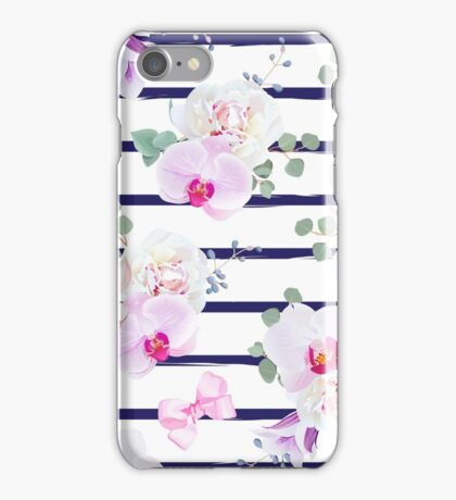Navy blue striped seamless vector print in purple, pink and white tones with bows. Peony, violet campanula, orchid, bell flower, eucalyptus. Simple backdrop with satin pink bows and blue berries. iPhone Case/Skin