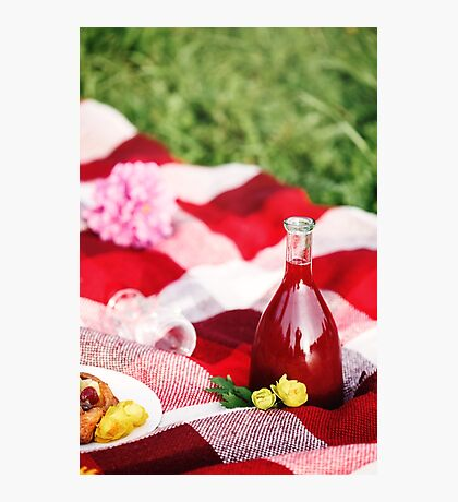 Summer Picnic Concept. Food on Plaid. Photographic Print