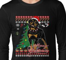 Ugly Christmas Sweater For Rottweiler Dog Lover Xmas Gift - Ladies T Shirt Long Sleeve T-Shirt