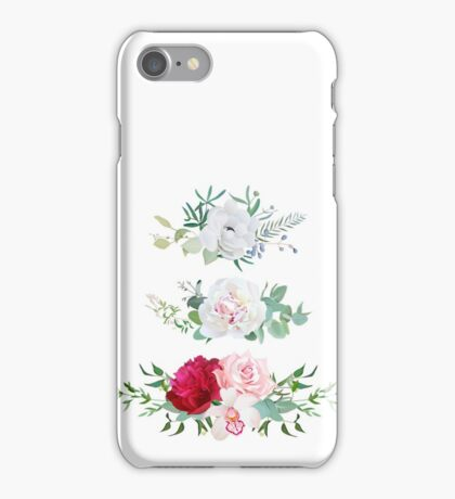 Stylish mix of horizontal flower bouquets vector design flowers set. Rose, orchid, burgundy red and white peony, anemone, eucalyptus, various plants and herbs. All elements are isolated and editable. iPhone Case/Skin