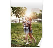 Young Happy Beautiful Best Friends Girls Poster