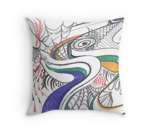 Walking in the Spider Web Throw Pillow