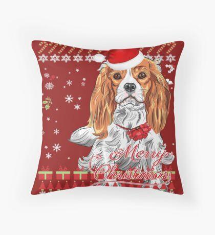 Cavalier King Charles Spaniel Ugly Christmas Sweater Shirt Throw Pillow