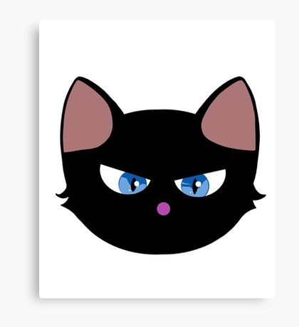 Angry Kitty Black Canvas Print